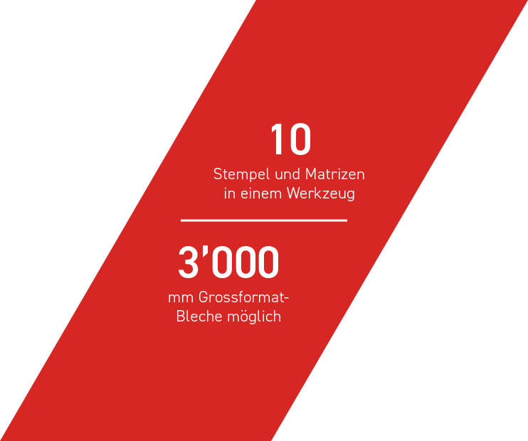 10 Stempel und Matrizen in einem Werkzeug - 3000 mm Grossformat-Bleche möglich