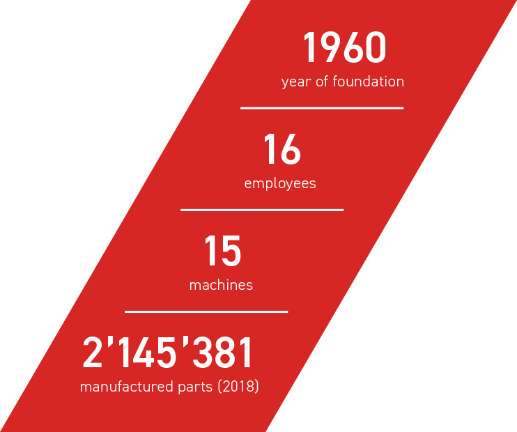 1960 year of foundation - 16 e,ployees - 15 machines - 2145381 manufactured parts (2018)